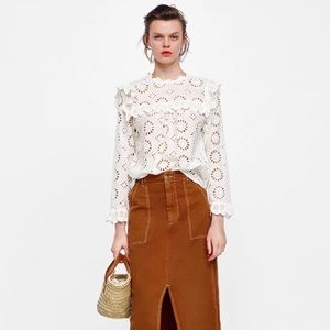 High Collar Embroidered Zara Blouse